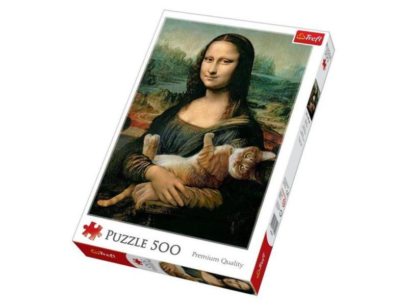 Puzzle Mona Lisa i kot mruczek