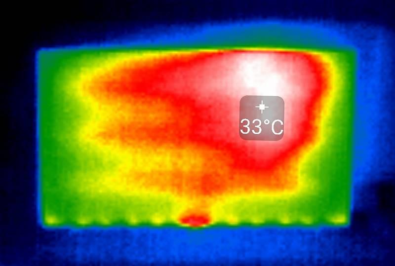 ekran samsunga 43tu7102 widziany w termogramie