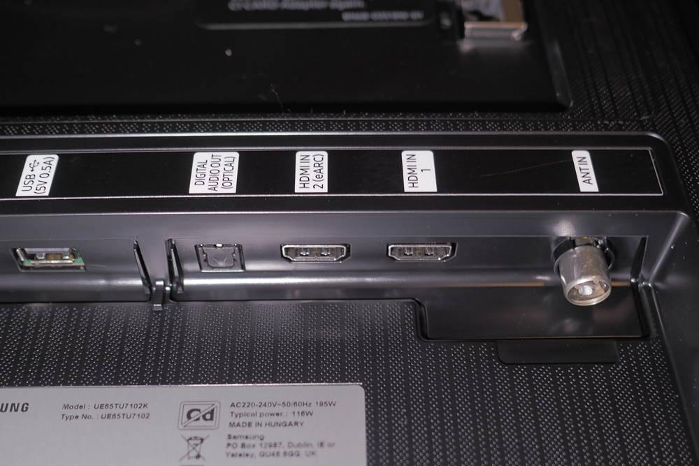 samsung 65tu7102 złącza telewizora