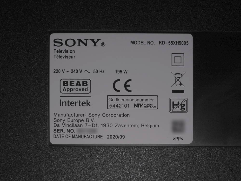 plakietka informacyjna telewizora sony 55xh9005