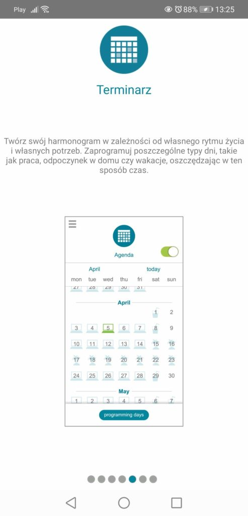 Aplikacja Somfy TaHoma kalendarz