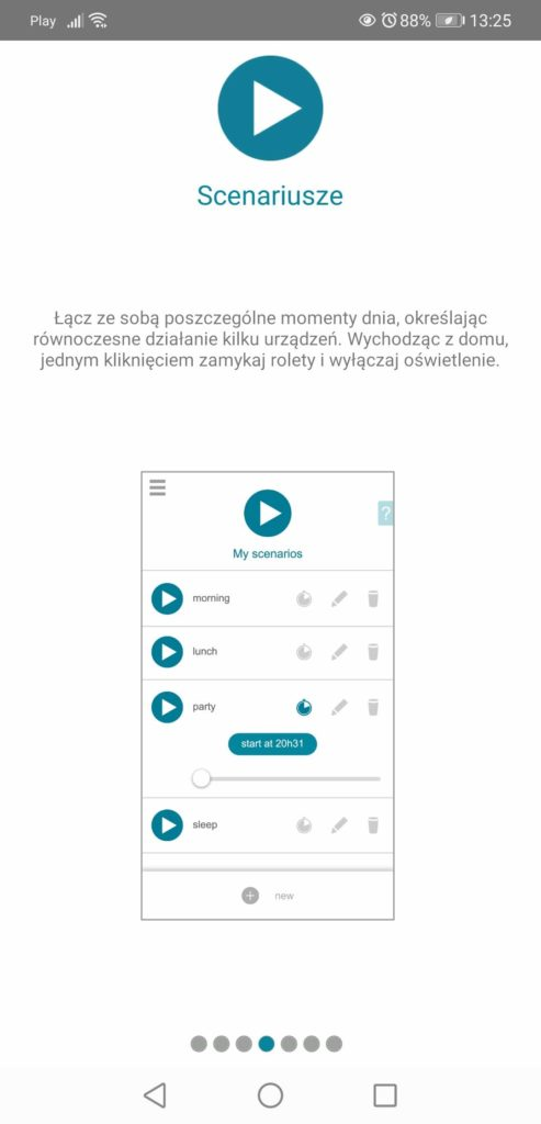 Aplikacja Somfy TaHoma scenariusze