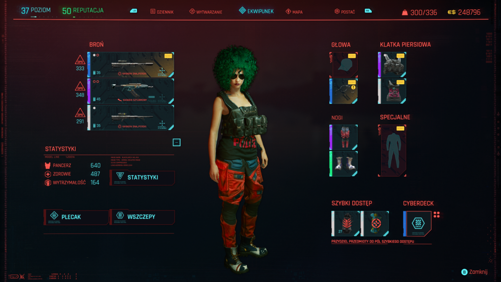 Cyberpunk 2077 ekwipunek