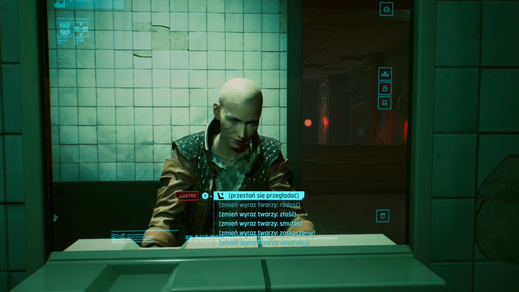 Cyberpunk 2077 Victor Vector łysa glaca w lustrze