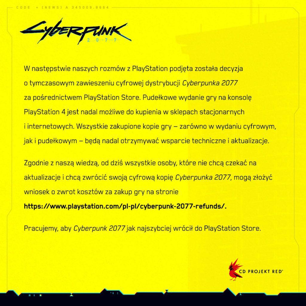 Cyberpunk 2077 zdjęty z PS Store oświadczenie