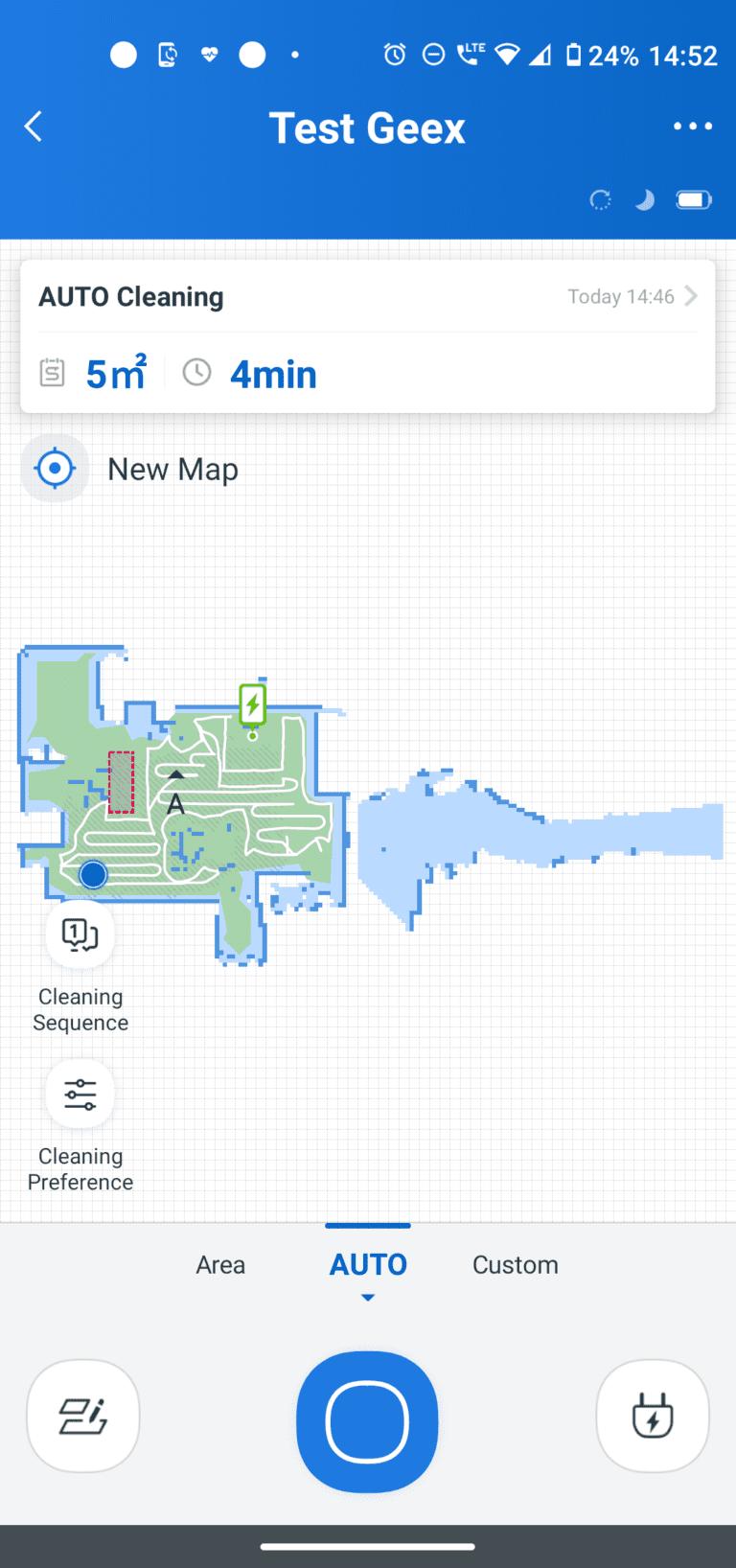 ecovacs aplikacja tryby auto area custom