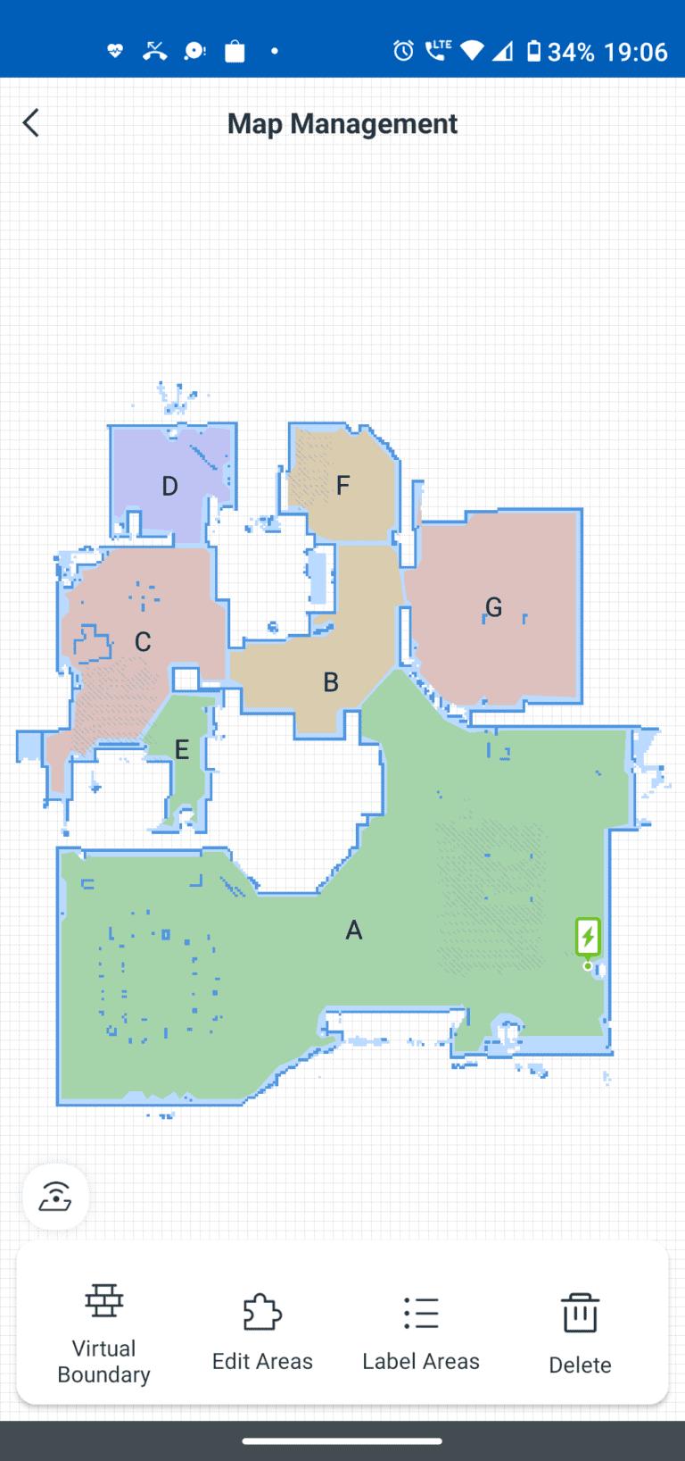 ecovacs aplikacja zarządzanie mapami