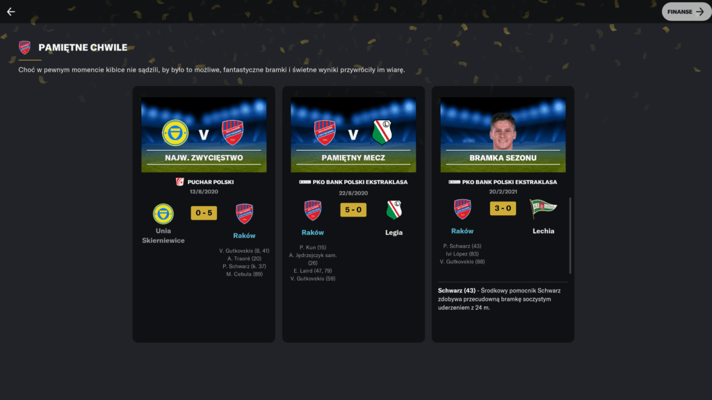 Football Manager 2021 podsumowanie sezonu pamiętne chwile