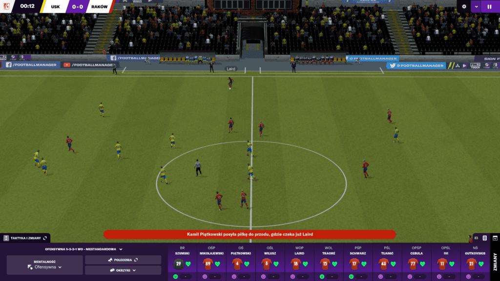 Football Manager 2021 widok podczas meczu