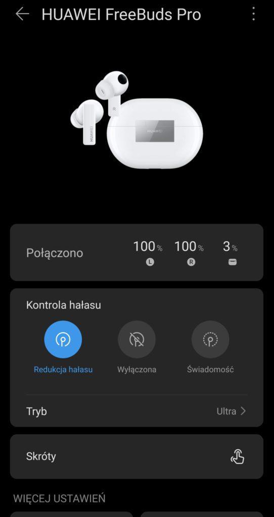 ekran aplikacji ai life - test huaweiów freebuds pro