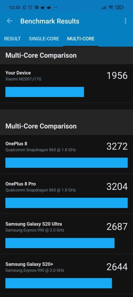Multi Core Geekbench Xiaomi Mi 10T Lite 5G