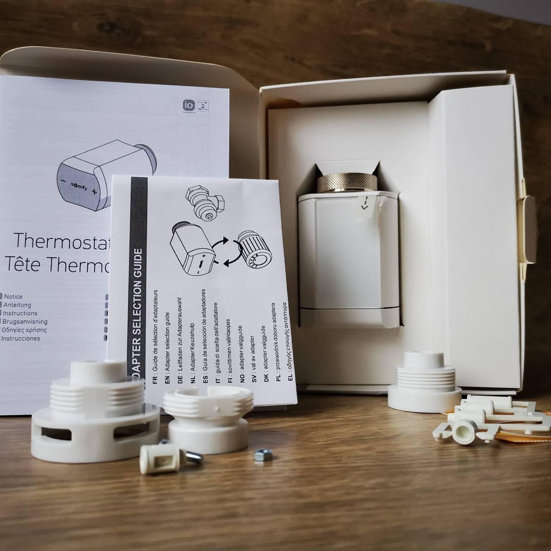 Głowca termostatyczna Somfy zawartość opakowania i akcesoria