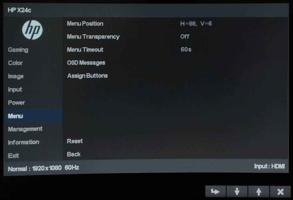 HP x24c Curved OSD menu