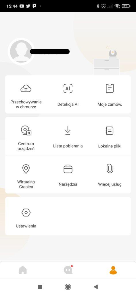 Widok ustawień aplikacji Imou Life