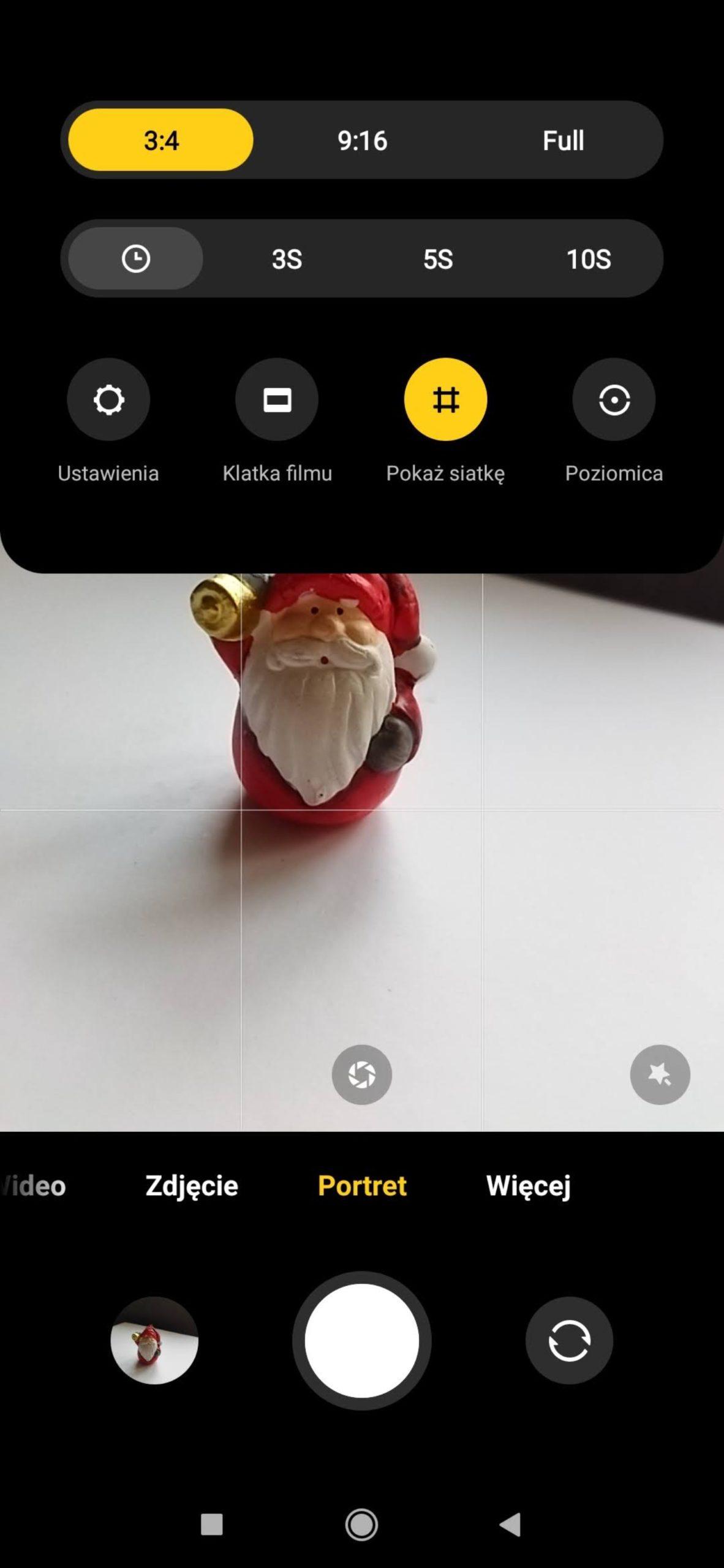 menu trybu portretowego poco m3