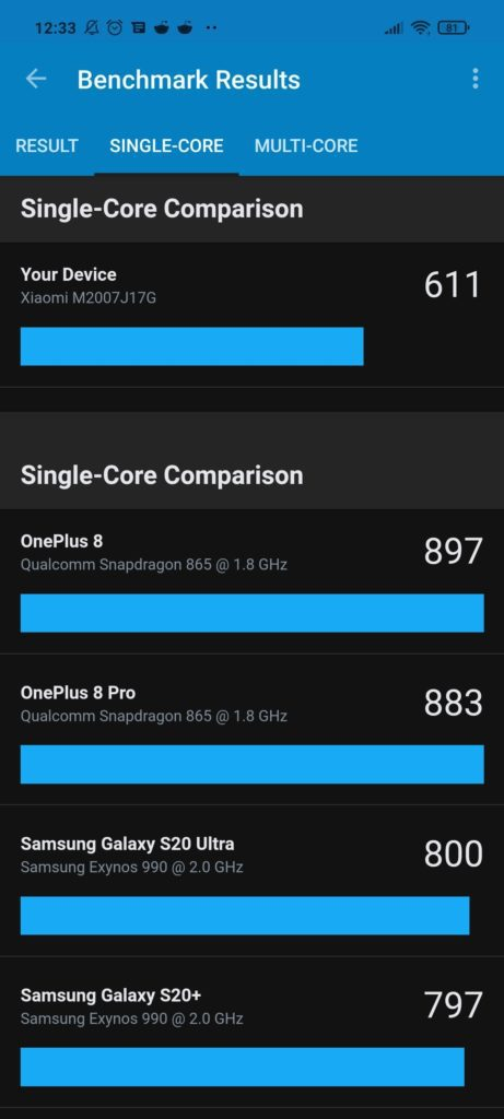 Single Core Geekbench Xiaomi Mi 10T Lite 5G