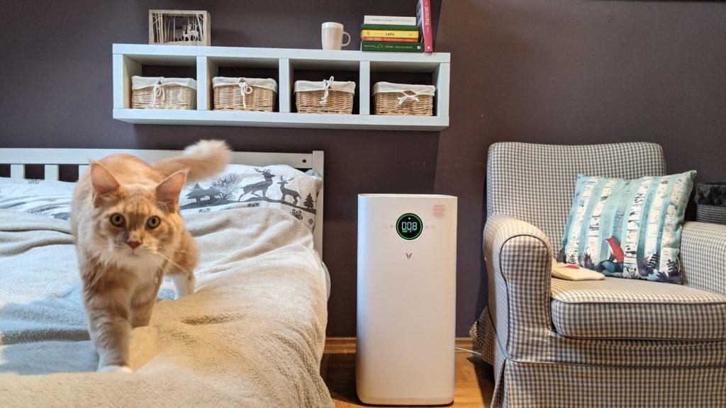 viomi smart air purifier między fotelem i łóżkiem, na łóżku rudy kot rasy maine coon