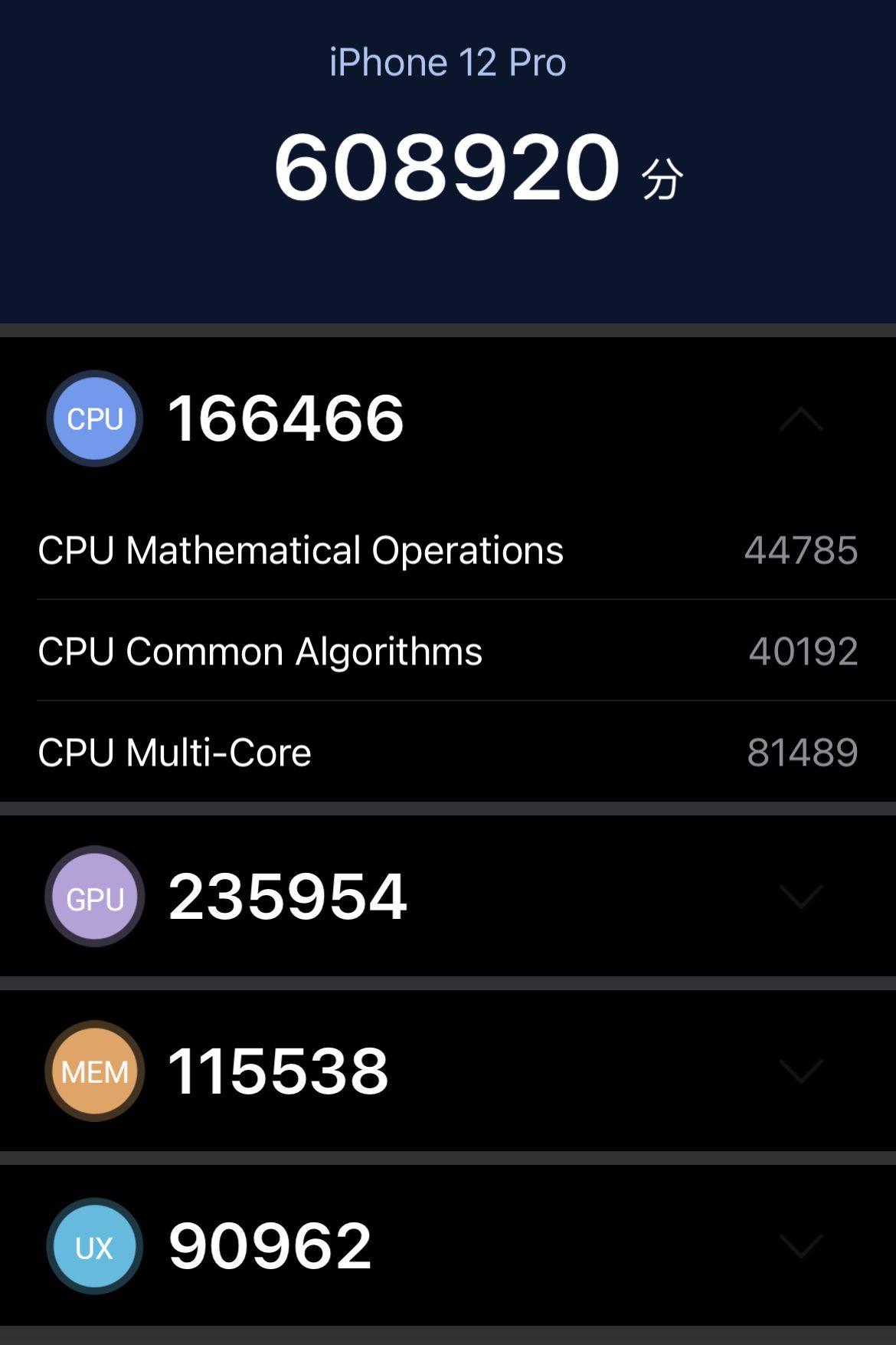 wydajność cpu iphone 12 pro