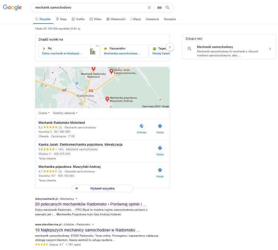 wyszukiwanie mechanika samochodowego w Google