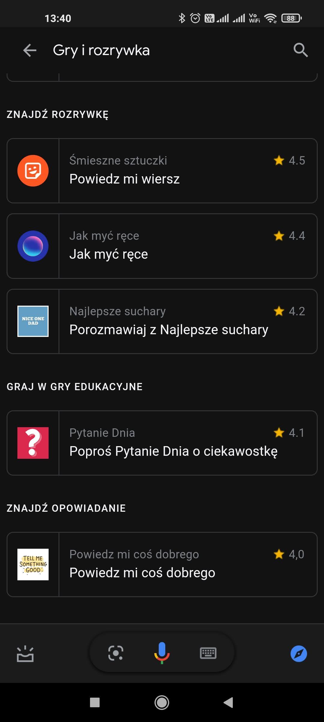 rozrywka asystent google