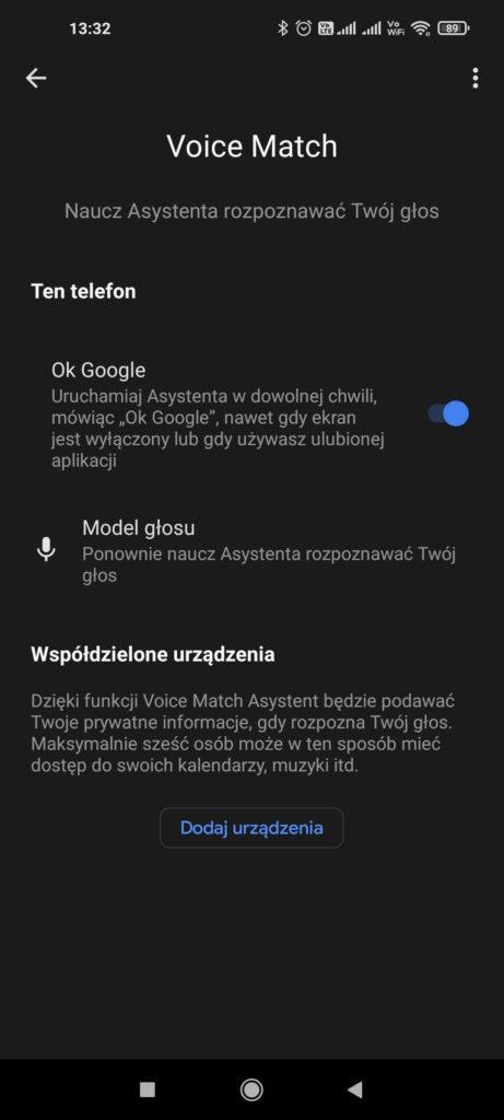 voice match asystent google
