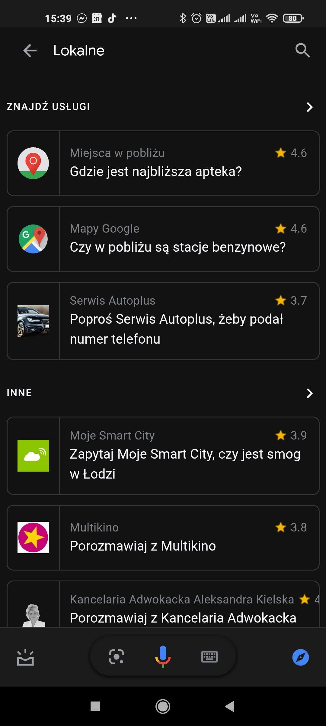 wyszukiwanie lokalne asystent google