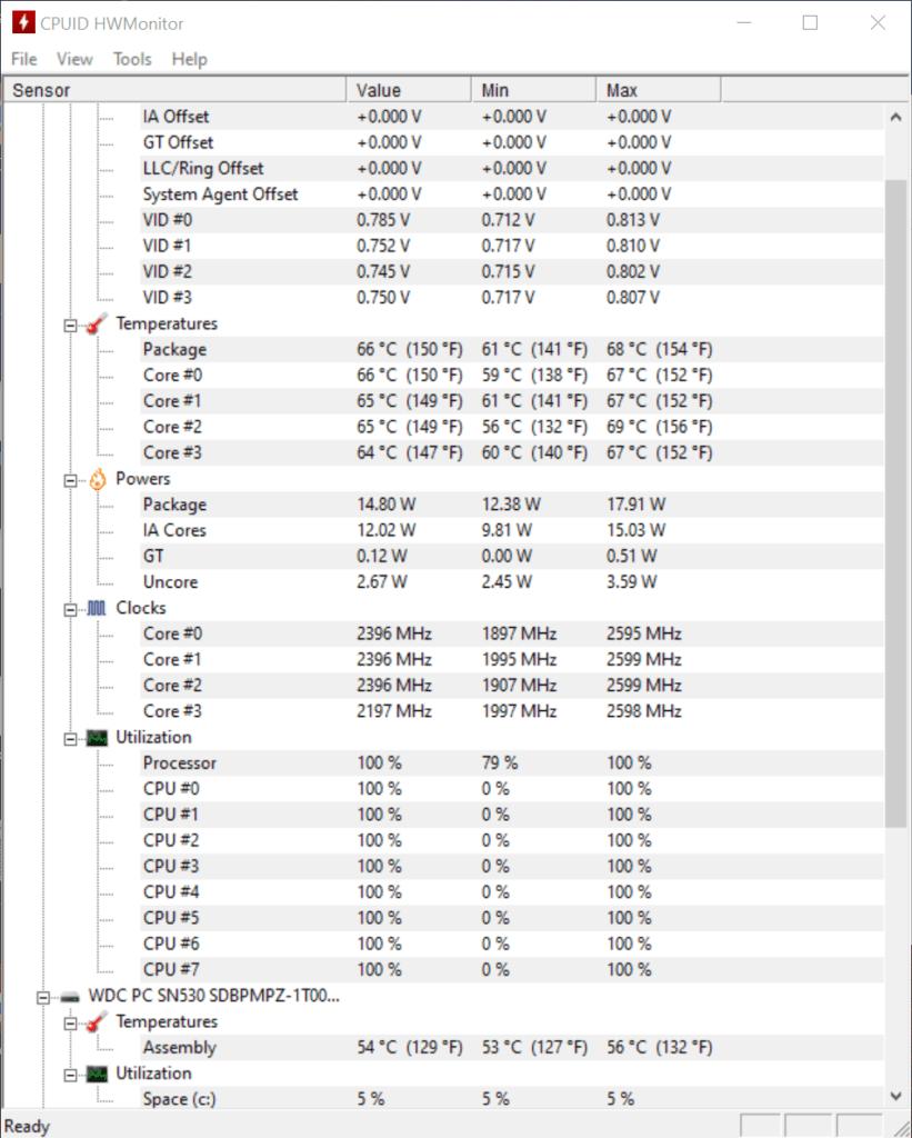 Lenovo ThinkPad X1 nano temperatury