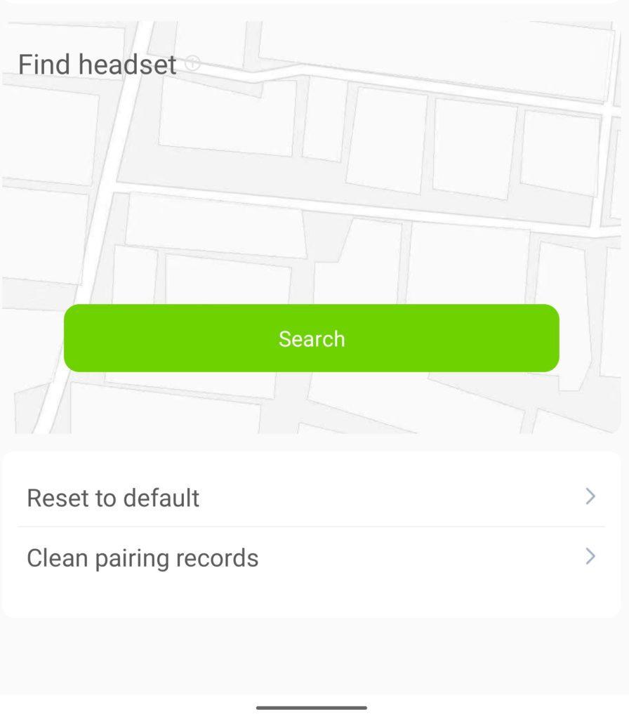 szukanie słuchawek w aplikacji QCY