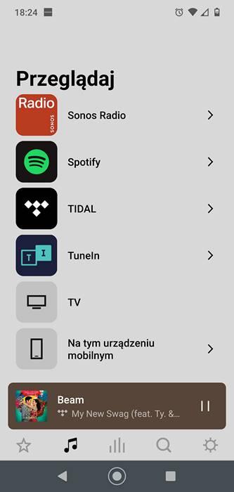 wykaz odtwarzaczy dostępnych w aplikacji sonos, są m.in. spotify, tidal