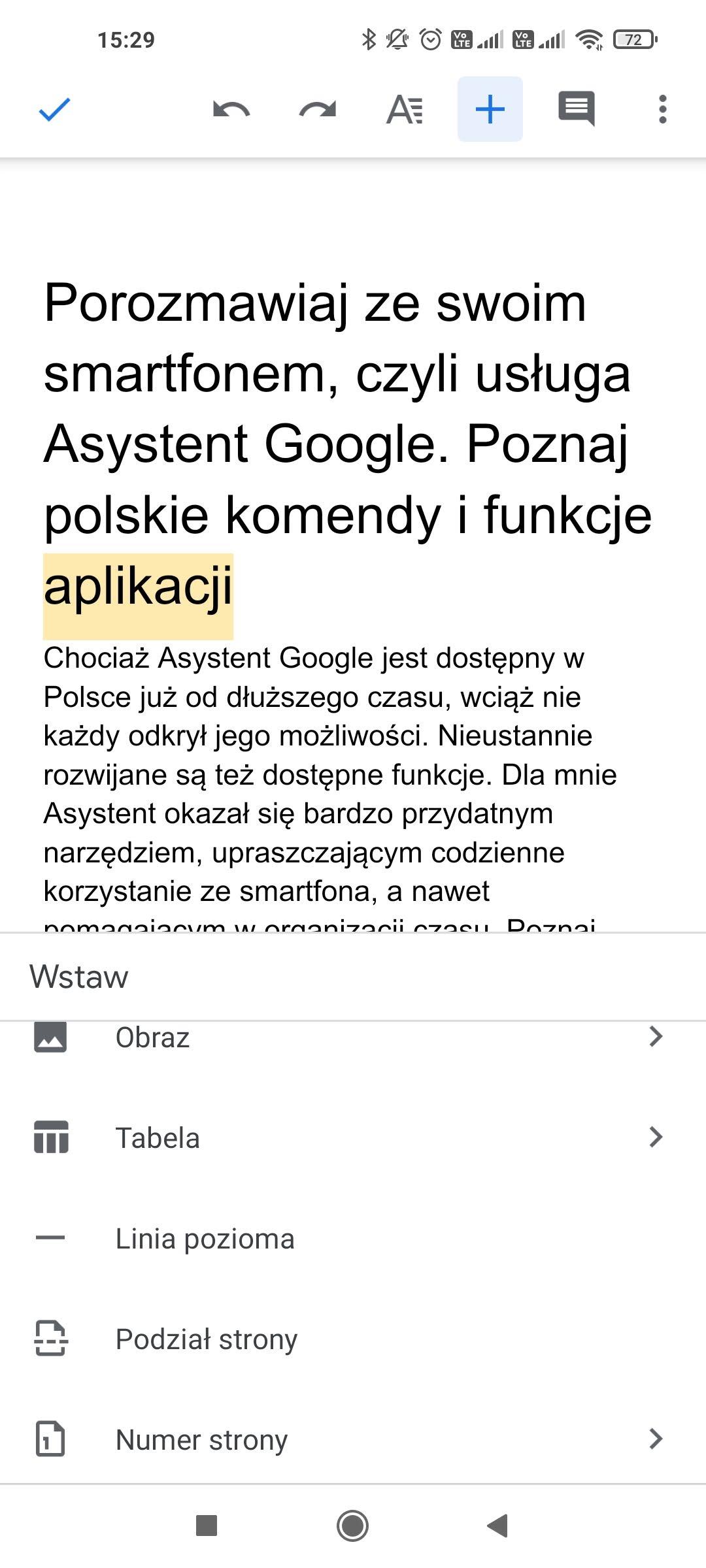wstawianie w dokumanty google aplikacja mobilna