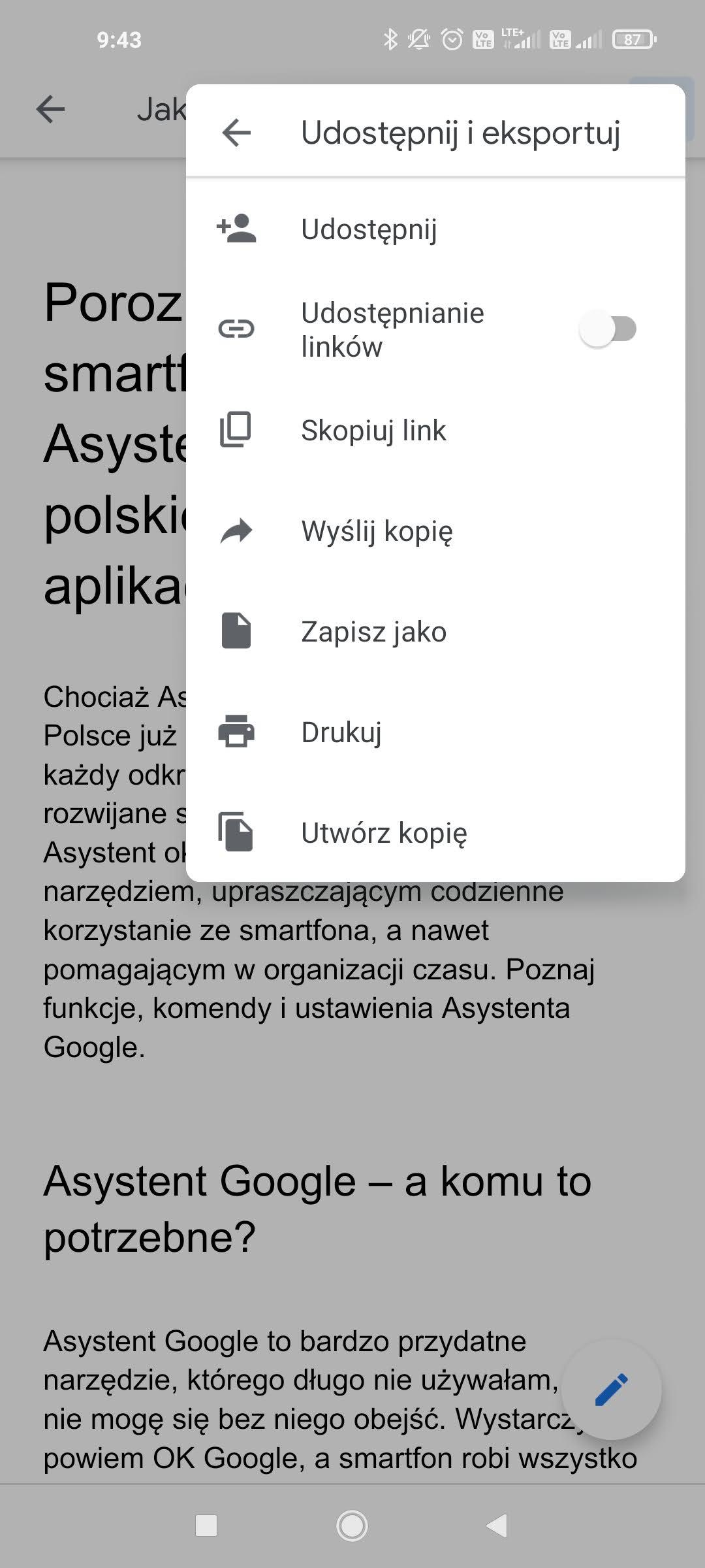 udostępnianie i eksportowanie w dokumentach google