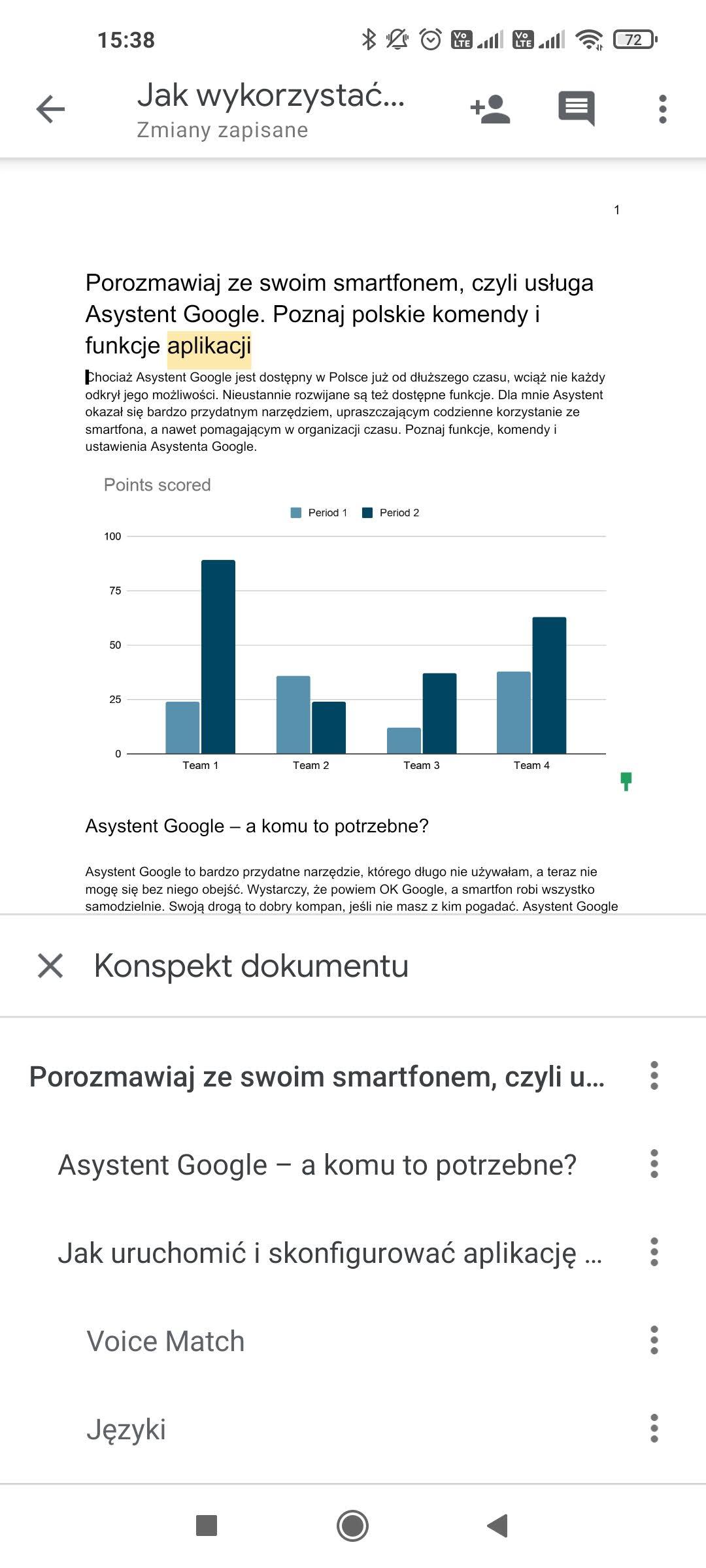 więcej funkcji w dokumentach google mobile