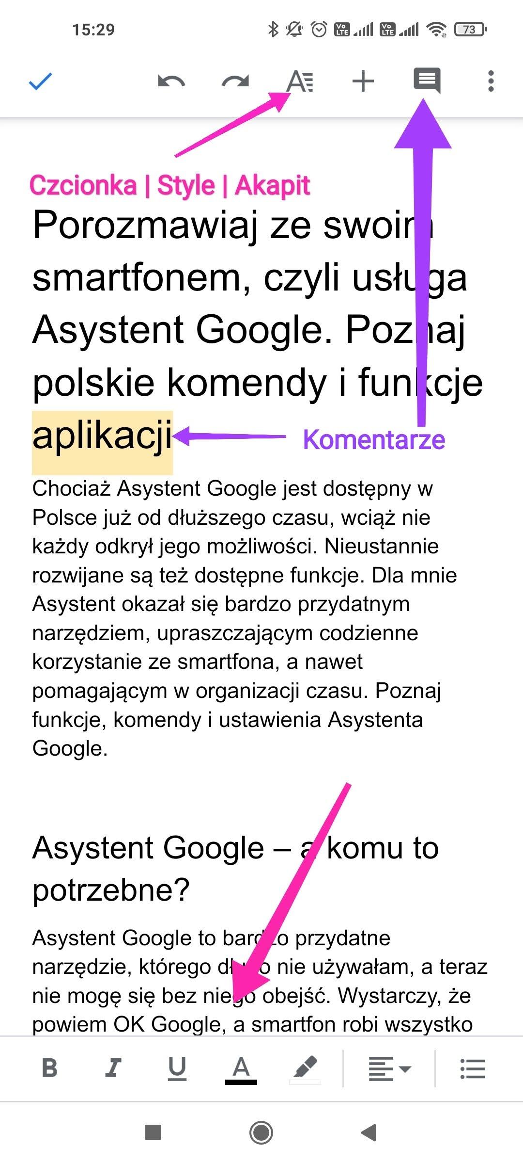 menu dokumentów google w wersji mobilnej