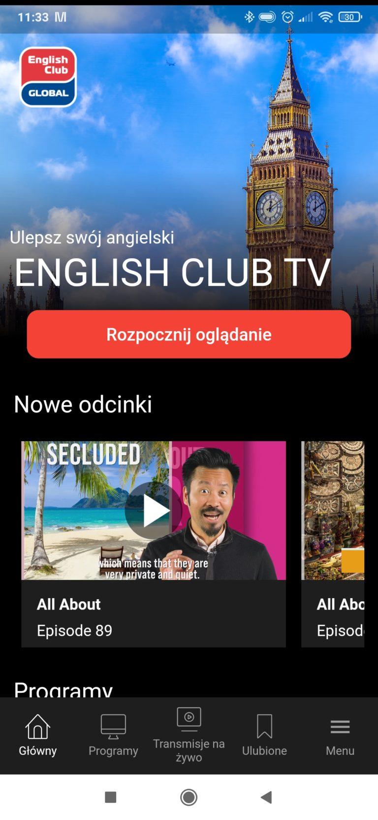 Ekran główny English Club TV