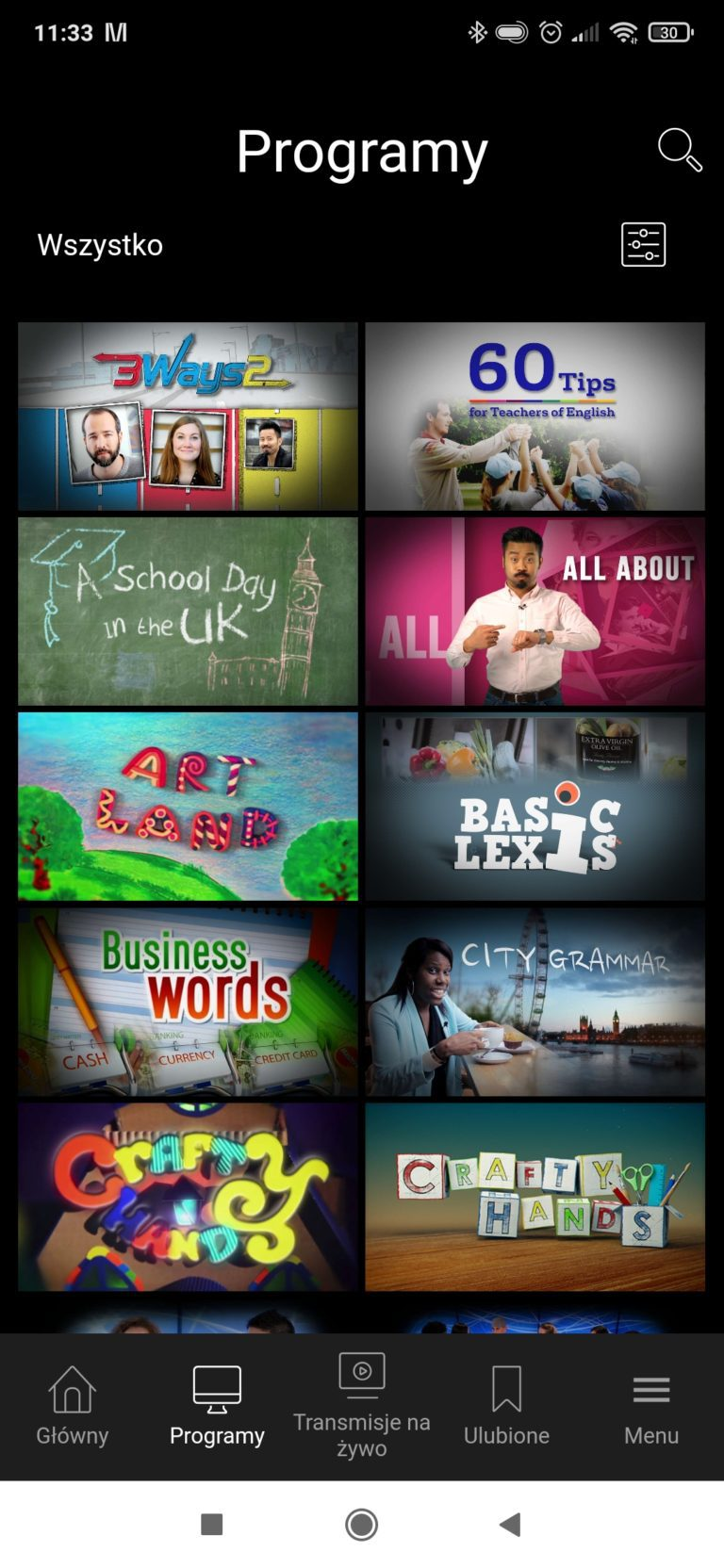 Lista programów English Club TV