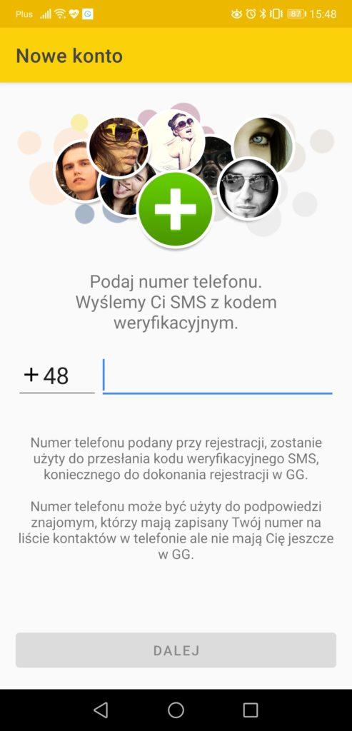 gg na telefon nowe konto