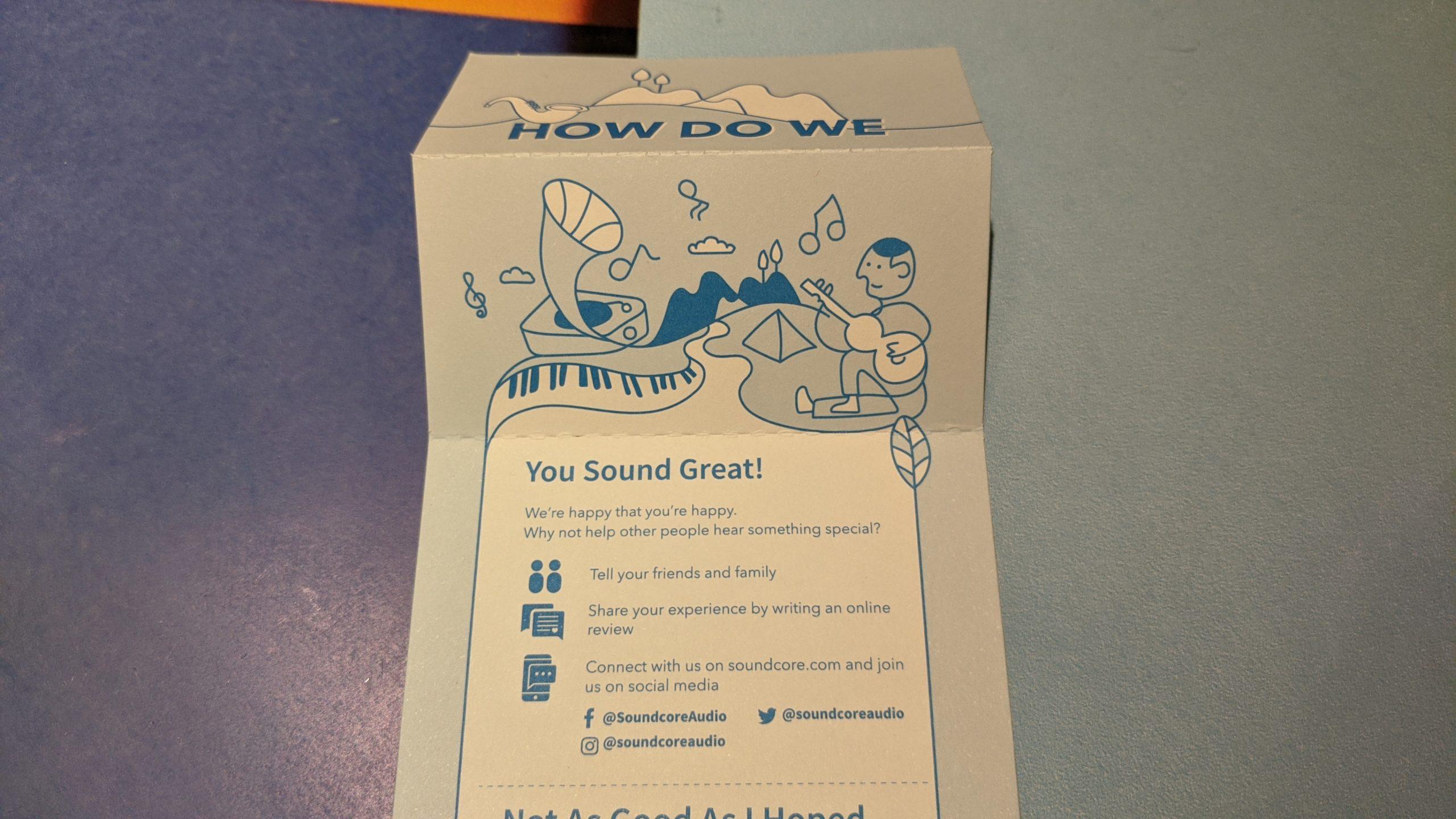 rozwinięta karteczka how do we sound, w środku porady, co zrobić, gdy grają dobrze