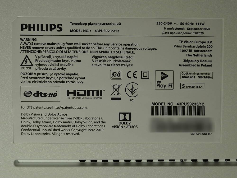 nalepka znamionowa telewizora philips 43pus9235
