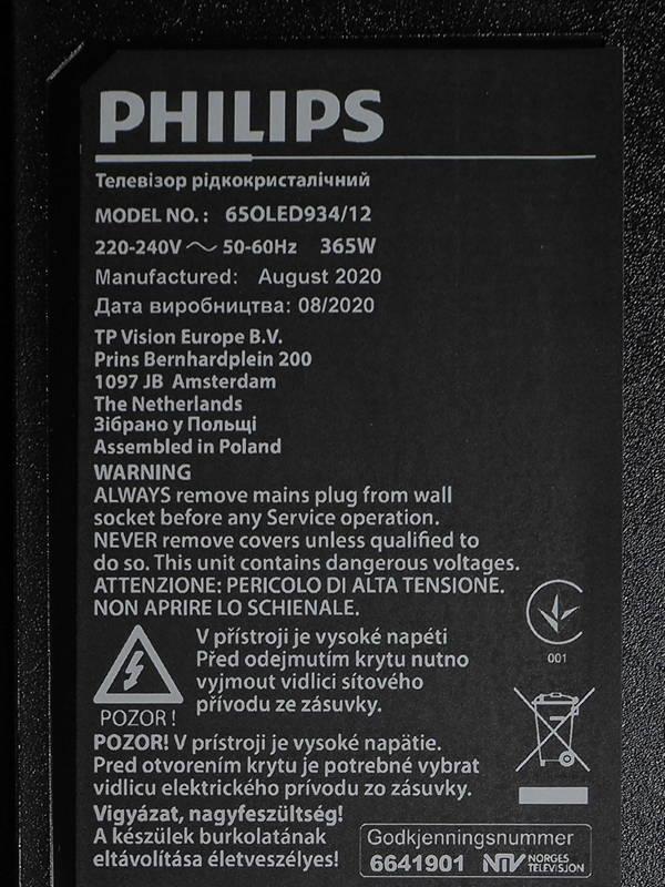 nalepka znamionowa telewizora philis 65oled934
