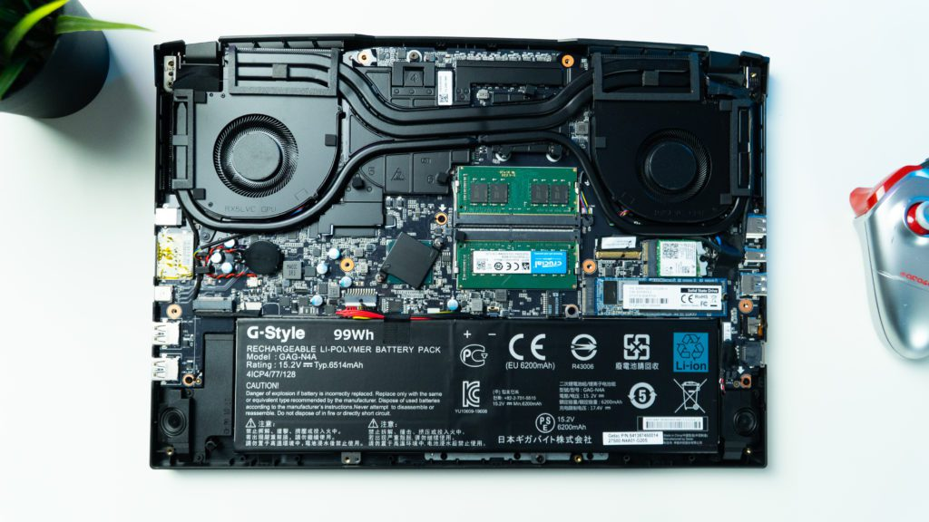 wnętrze laptopa aorus 15p