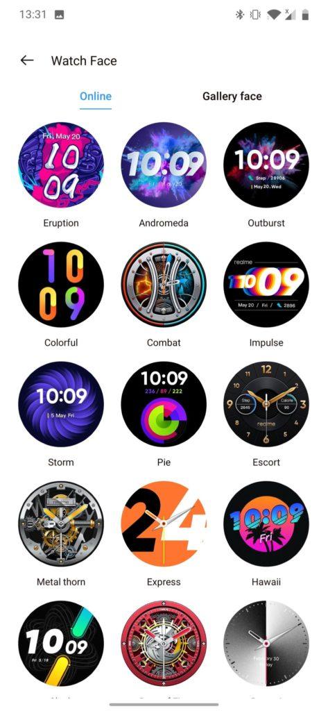 realme Watch S aplikacja tarcze do wyboru