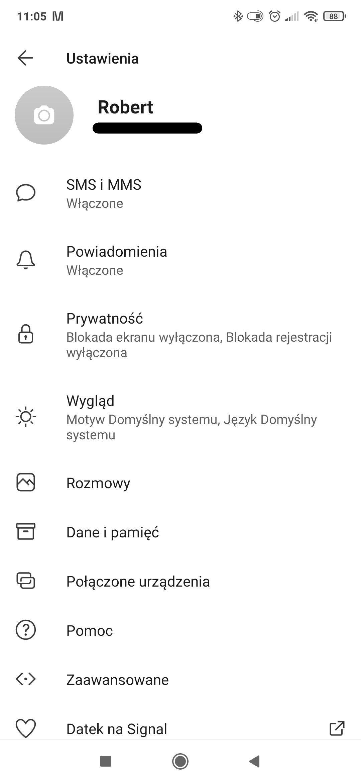 Ustawienia w aplikacji Signal