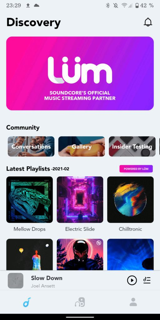 ekran aplikacji soundcore