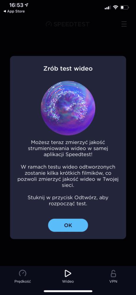 SpeedTest test przesyłania wideo