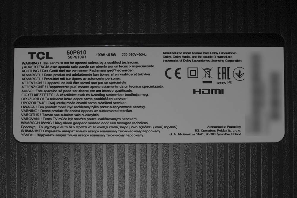 nalepka znamionowa telewizora TCL 50P610