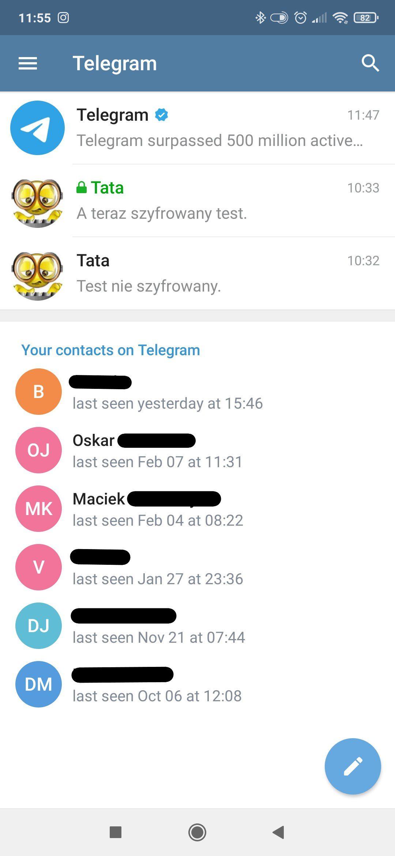 Telegram lista konwersacji