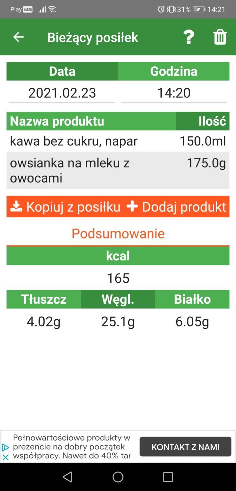 aplikacja do liczenia kalorii na smartfon