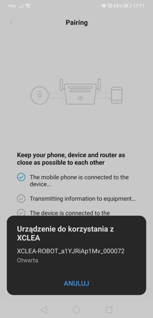 Aplikacja XClea parowanie ze smartfonem