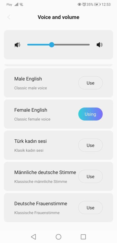 Aplikacja XClea zmiana głośności i języka