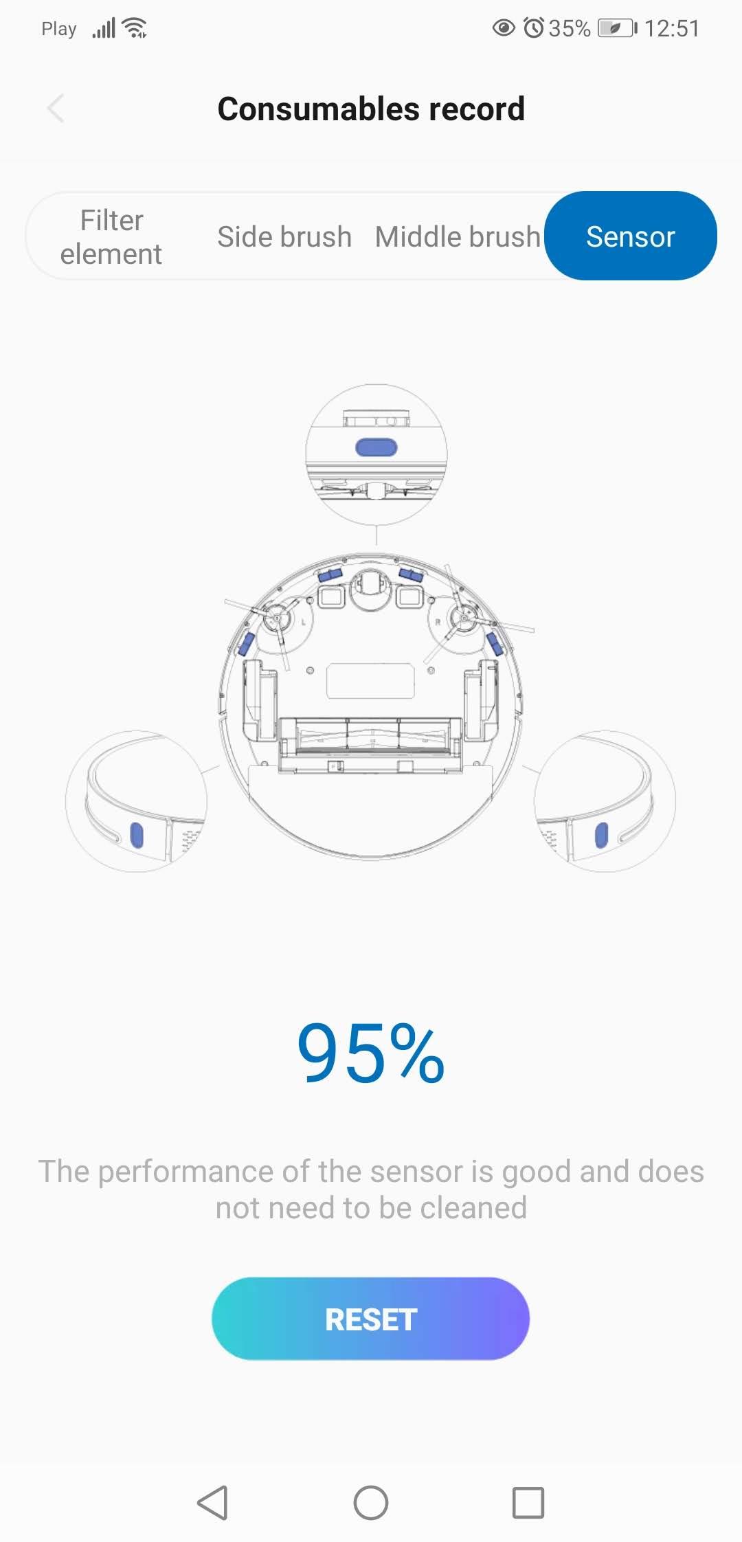 Aplikacja XClea stopień zabrudzenia sensorów